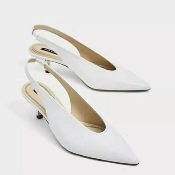 800a4c2e28f Zara White Slingback Kitten Heels size 6